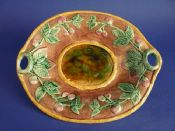 Large Victorian Majolica 'Raspberry' Oval Serving Dish c1880